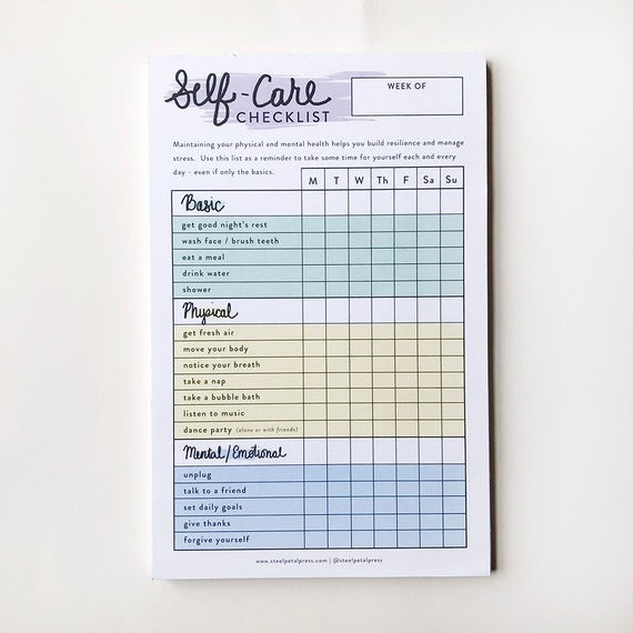 Notepads Self Care Checklist Tracker   Etsy